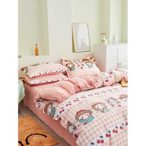 3/4 Pcs Cartoon Character And Plaid Print AB Sided Aloe Cotton Comfy Bedding Set Sheet Duvet Cover Pillowcase