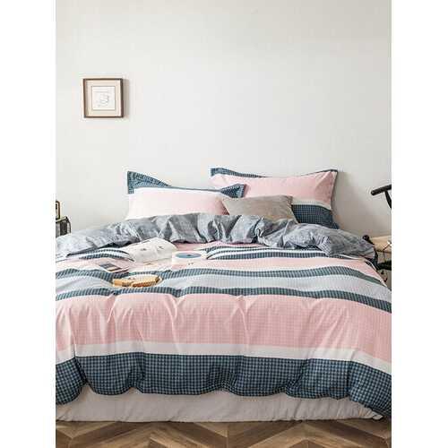 3/4 Pcs Plaid Aloe Cotton Bedding Skin-Friendly Soft Grinding Wool Sheet Quilt Cover Pillowcase