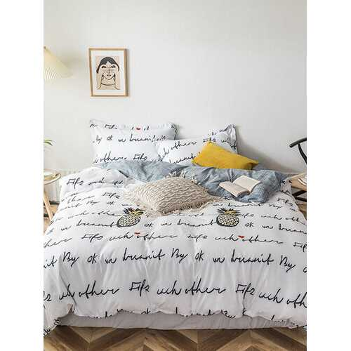 3/4 Pcs Letters And Pineapple Print AB Sided Aloe Cotton Comfy Bedding Set Sheet Duvet Cover Pillowcase