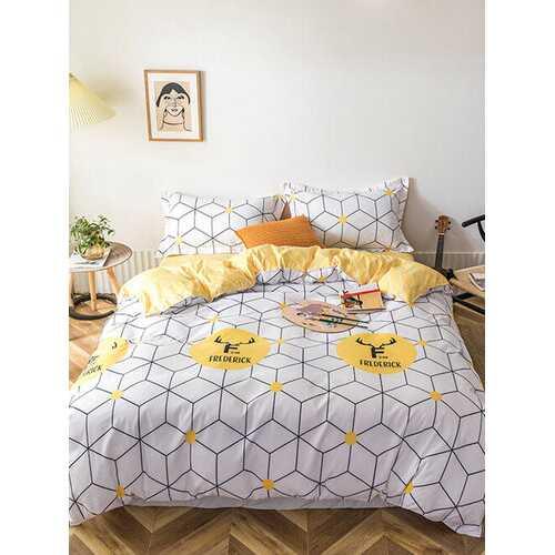 3/4 Pcs Cube Geometric Pattern AB Sided Aloe Cotton Bedding Set Comfortable Fabrics Sheet Duvet Cover Pillowcase