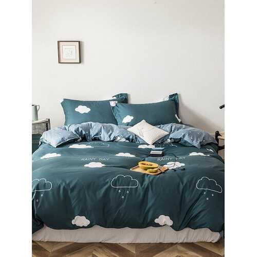 3/4 Pcs Cartoon Clouds Pattern AB Sided Aloe Cotton Bedding Set Comfortable Fabrics Sheet Duvet Cover Pillowcase