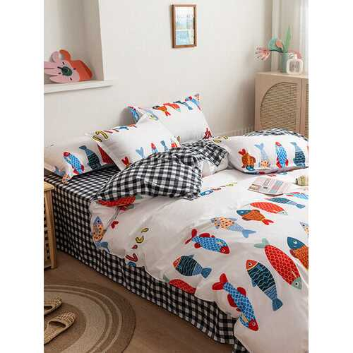 3/4 Pcs Cartoon Fish And Plaid Print AB Sided Aloe Cotton Comfy Bedding Set Sheet Duvet Cover Pillowcase