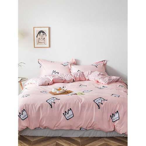 3/4 Pcs Cartoon Crown And Plaid Print AB Sided Aloe Cotton Comfy Bedding Set Sheet Duvet Cover Pillowcase