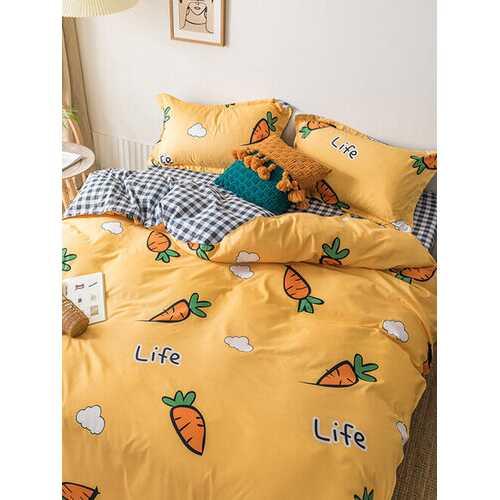 3/4 Pcs Carrot And Plaid Print AB Sided Aloe Cotton Comfy Bedding Set Sheet Duvet Cover Pillowcase