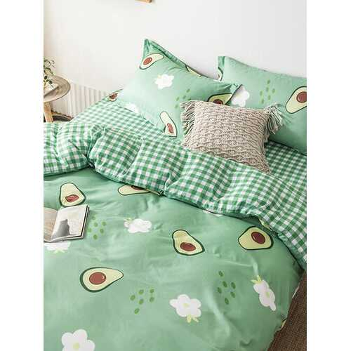 3/4 Pcs Avocado And Plaid Print AB Sided Aloe Cotton Comfy Bedding Set Sheet Duvet Cover Pillowcase