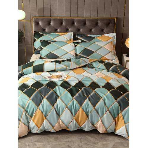 2/3 Pcs Green Geometric Rhombus Color Grid Bedding Soft Comfortable Quilt Cover Pillowcase