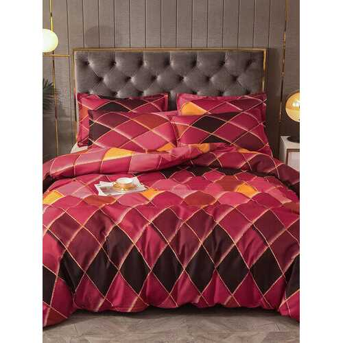2/3 Pcs Red Geometric Rhombus Color Grid Bedding Soft Comfortable Quilt Cover Pillowcase