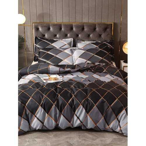 2/3 Pcs Brown Geometric Rhombus Color Grid Bedding Soft Comfortable Quilt Cover Pillowcase