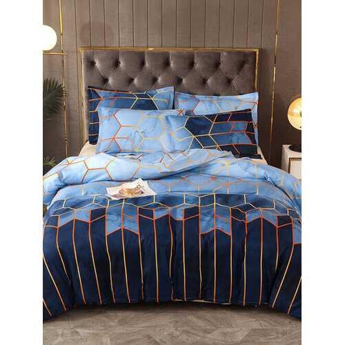 2/3Pcs Geometric Bedding Set Blue Golden Duvet Cover Sets Polyester Bed Cover Pillowcase Queen King Size