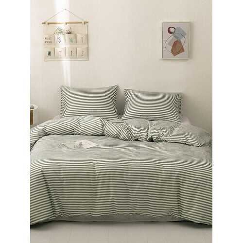 2/3Pcs Striped Pattern Bedding Set Comforter Bed Cover Pillowcase Adults Bed Duvet Set Twin King