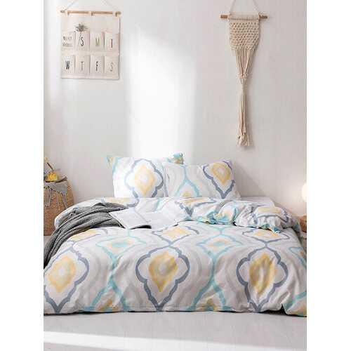 2/3Pcs Geometric Pattern Modern Duvet Cover Set Pillowcase Adults Bed Duvet Set Twin King