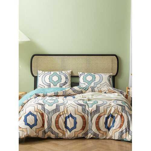 2/3Pcs Geometric Pattern AB Sided Modern Duvet Cover Set Pillowcase Adults Bed Duvet Set Twin King