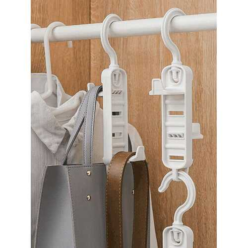 1Pc Multifunctional Rotatable Double-sided Coat And Hat Storage Hook Closet Adjustable Clothes Hanger Belt Scarf Hanger