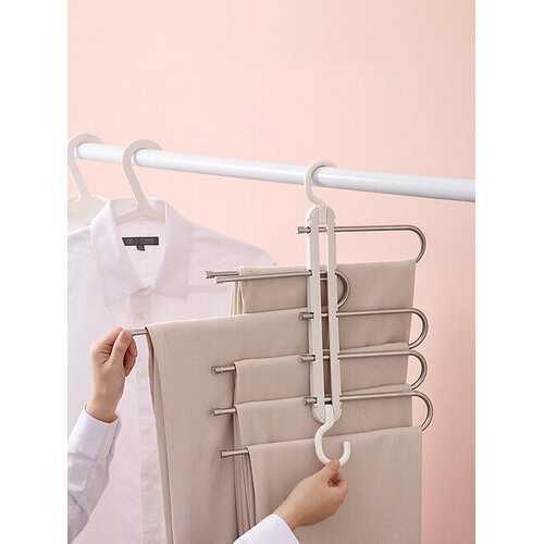 1Pc Multifunctional Seamless Retractable Folding Multi-layer Pants Rack Household Magic Pants Clip Wardrobe Storage Pants Hanger