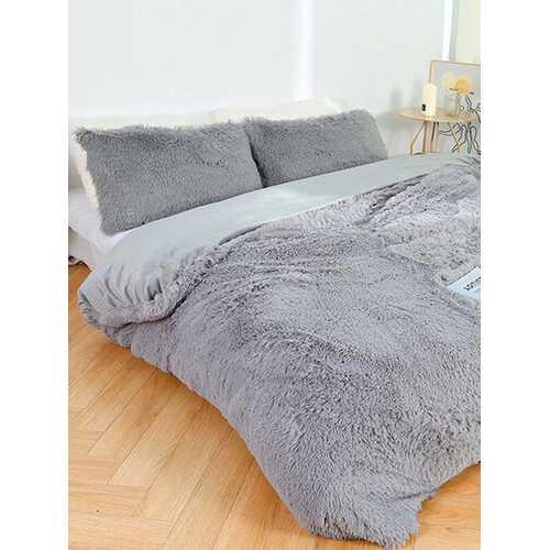 3 Pcs Plain Color Thicken Bedding Plush Warm Quilt Cover Double Pillowcase