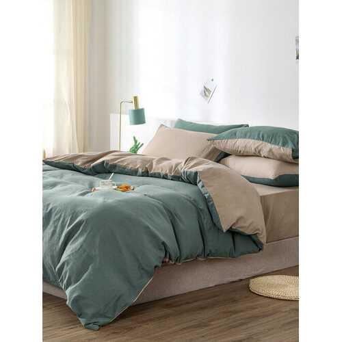 2/3Pcs Green AB Sided Plain Color Comfy Bedding Duvet Cover Set Pillowcase Adults Bed Duvet Set Twin King