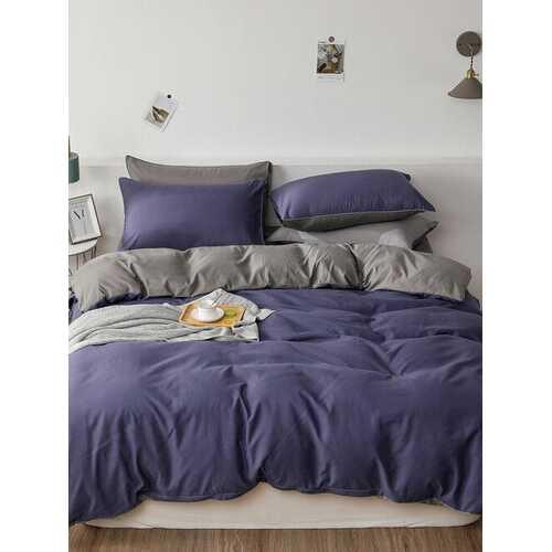 2/3Pcs Purple AB Sided Plain Color Comfy Bedding Duvet Cover Set Pillowcase Adults Bed Duvet Set Twin King