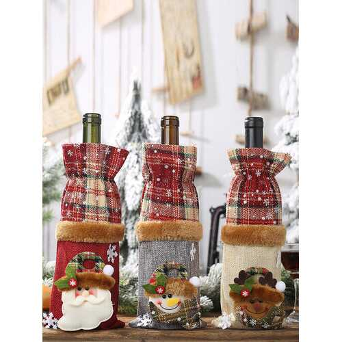 1 Pc Christmas Plaid Wine Bottle Bag Snowman Red Wine Champagne Christmas Table Decorations