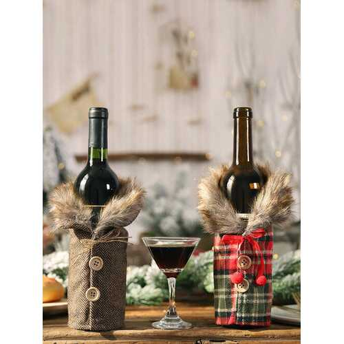 1 Pc Christmas Striped Plaid Wine Bottle Bag Red Wine Champagne Christmas Table Decorations