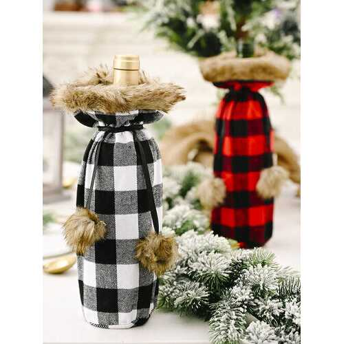 1 Pc Christmas Pompoms Plaid Wine Bottle Bag Red Wine Champagne Christmas Table Decorations