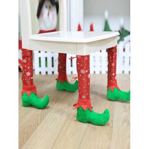 1 Pc Christmas Chair Leg Covers Atmosphere Decoration Non-Slip Table Foot Dust Cover