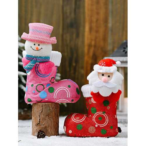 1Pc Funny Christmas Candy Boot Ornaments Cartoon Bright Cloth Shoes Christmas Decoration