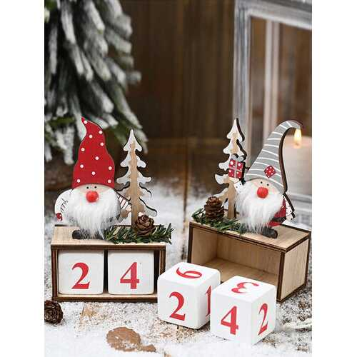 1Pc Christmas Wooden Pine Cone Calendar Countdown Old Man Decoration Standing Desktop Ornament