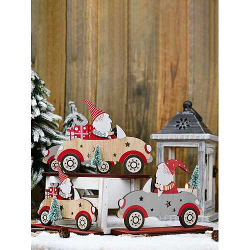 1Pc Christmas Decorations Santa Claus Driving With A Small Tree Ornaments Wooden Standing Desktop Decoration