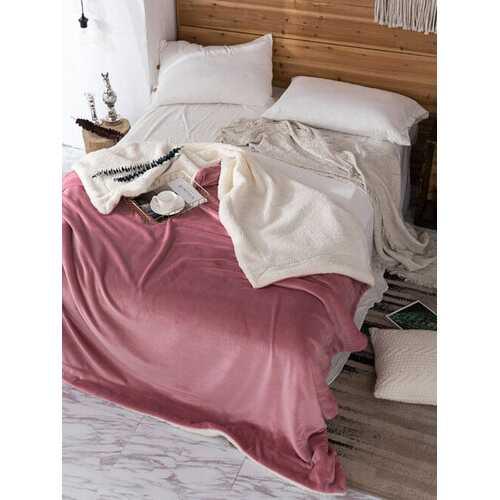 1Pc AB Side Coral Velvet And Lamb Cashmere Blanket Soft Thick Blanket For Bed Sofa Warm Fleece Blanket For Bedroom