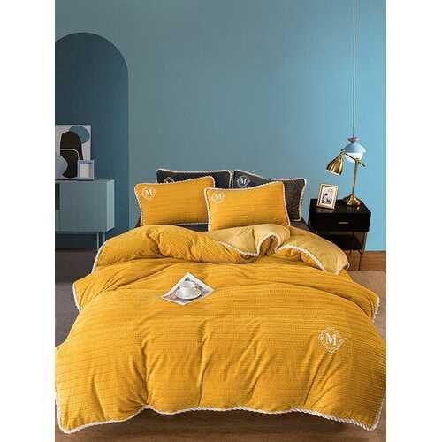 3/4 Pcs AB Sided Plain Color Velvet Comfy Bedding Set Sheet Duvet Cover Pillowcase