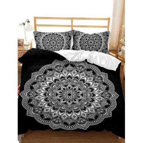 2/3 Pcs Bohemian National Style Floral Overlay Print Comfy Bedding Set Duvet Cover Pillowcase
