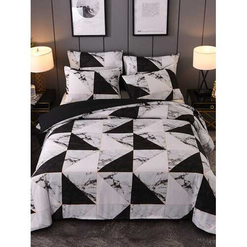 2/3PCS Marbled Black And White Geometry Pattern Overlay Cover Comfy Bedding Set Quilt Cover Pillow Case