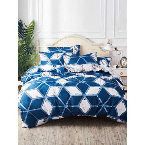 2/3PCS Nordic Style Geometric Stone Pattern Overlay Cover Comfy Bedding Set Quilt Cover Pillow Case