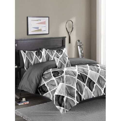 2/3PCS Gradient Color Nordic Diamond Lattice Overlay Print Comfy Bedding Set Quilt Cover Pillow Case