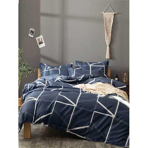 2/3PCS Simple Style Geometric Linen Comfy Bedding Set Quilt Cover Pillow Case
