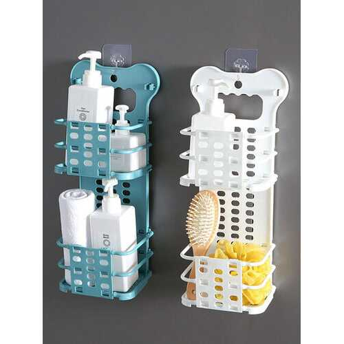 1Pc 2-Layer Foldable Laundry Basket Hanging Punch-free Toys Buckets Makeups Organizer Basket Underwear Dirty Clothes Storage Baskets