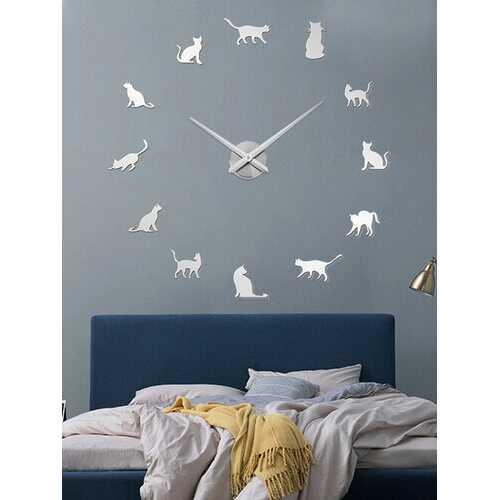 Cat DIY Three-dimensional Wall Sticker Wall Clock Living Room Decoration Clock Nordic Simple Clock Wall Clock