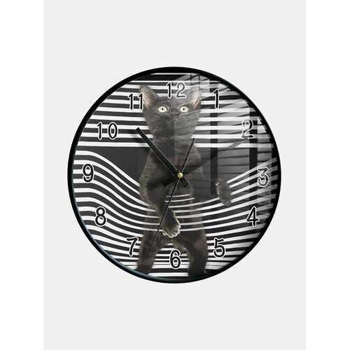 Cat Print Pattern Wall Clock Decorative Indoor Quartz Analogue Clock Hang Clock Easy-to-read Clocks