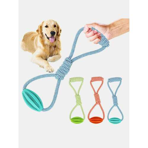 1Pc Cotton Rope Leaking Watermelon Ball Dog Biting Rubber Ball Toy Pet Tooth Grinding Toy