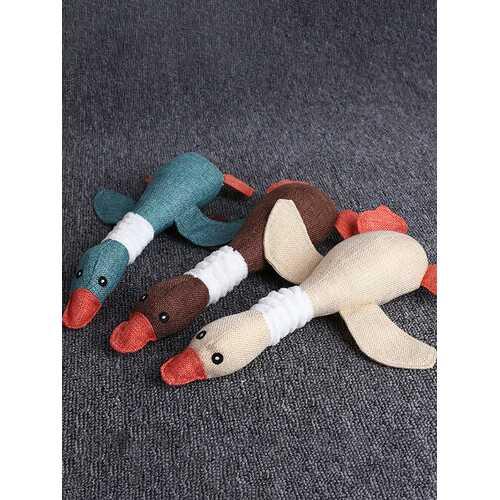 1Pc  Wild Goose Sounding Toys Biting Molar Cleansing Teeth Burst Plush Toys