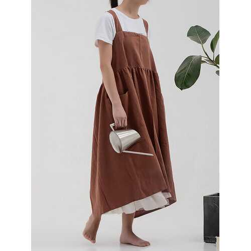 Korean Anti-fouling Kitchen Solid Color Apron Pleated Apron Cotton Shop Coffee Shop Overalls