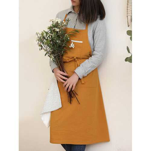Nordic Style Plain Color Cotton Linen Hand-wiping Apron Kitchen Floral Baking Apron