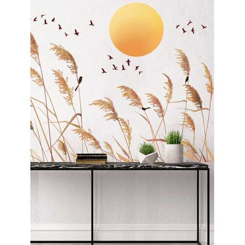 1PC Autumn Reed Print Landscape Home Decor Background Wall Art Self-adhesive Waterproof Wall Sticker For Bedroom Living Room