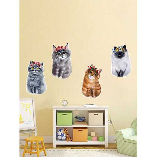 1PC Cute Colorful Cats Wall Stickers Art Room Removable Decals Decoration Kid Room Bedroom Decor Decals Stickers Wallpaper
