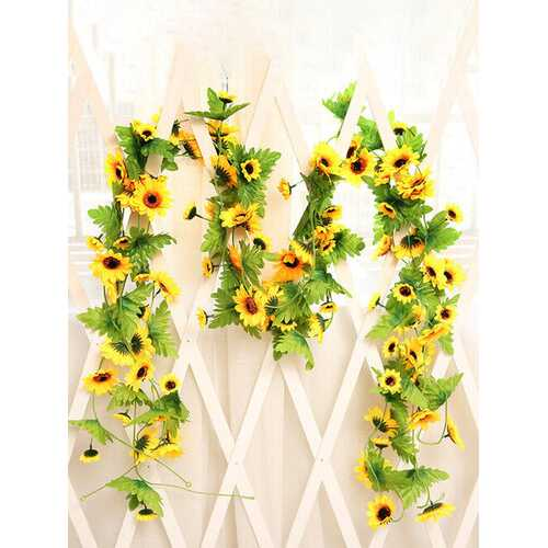Simulation Fake Hanging Sun Flowers Rattan Home Garden Indoor Outdoor Wall Wedding Decor Garland Romantic Artificial Flowers