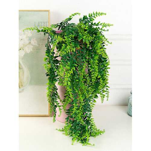 Simulation Persian Fern Wall Hanging Plastic Fake Artificial Plant Green Vines Rattans Garland Garden Home Wall Hotel Wedding Party Decor