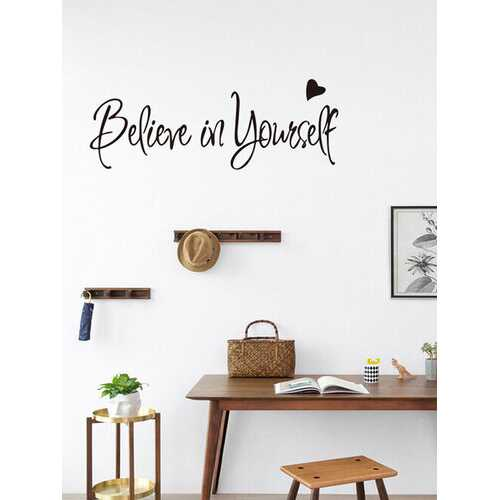 1PC English Letter Words Proverbs Quote Believe In Yourself Inspirational Slogan Self-adhesive Removable Wall Decal Home Decor For Study Room Living Room Bedroom Cafe Shop Wall Sticker