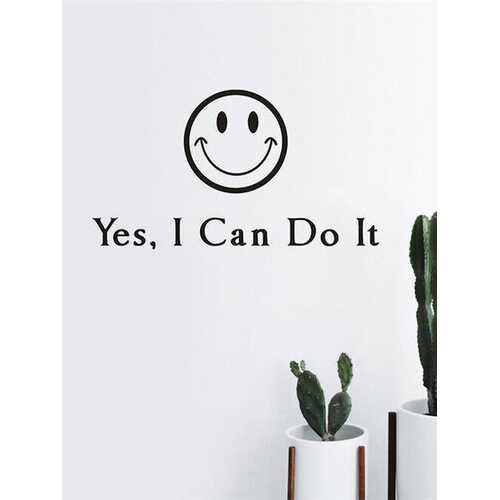 1PC English Letter Words I Can Do It Self-adhesive Inspirational Quote With Smile Print Encouraging Slogan Wall Decal For Living Room Office Home Decor Wall Sticker