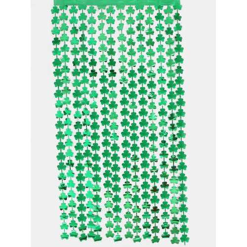 1PC 1*2M Happy St. Patrick's Day Green Clover Tinsel Rain Curtain Metallic Foil Fringe Party Curtain Wedding Backdrop Curtain Photo Booth Backdrop Irish Festival Party Decoration