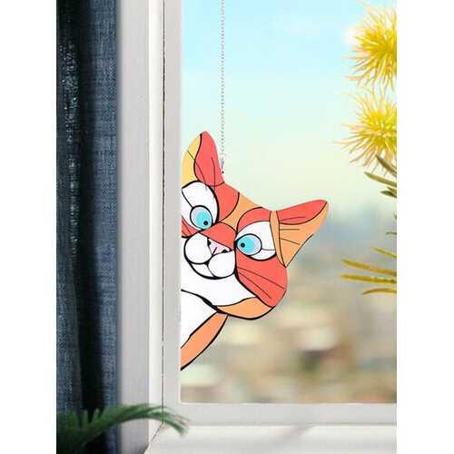Cute Animal Pattern Hanging Decor Cat/Dog Print Sun Catcher Window Hanging Ornament Pendant For Garden Window Wall Door